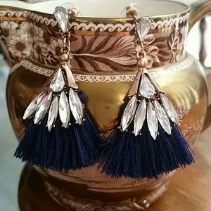 Ballet Humanoid Tassel Earrings Navy Blue